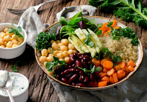Vegetarian Buddha bowl with quinoa and chickpea. Vegetarian and vegan food concept. Healthy eating